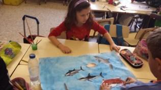 Realizando los murales: L'océan