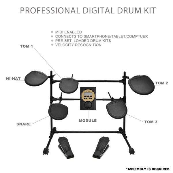 Components of the PylePro PED041 drum set