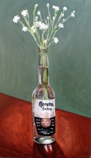 "Snow-in-summer in Corona bottle, Jun. 2010, acrylic on masonite, 14"" x 24"""
