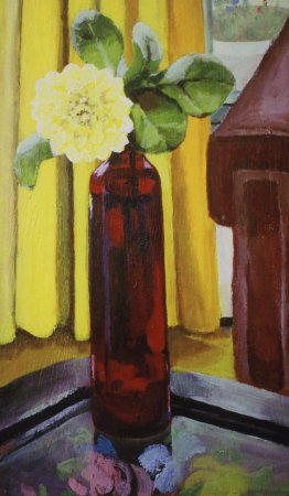 """Dahlia in a Red Dress, 2004, acrylic on panel 12"""" x 20"""""""