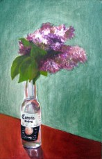 "Lilacs in Corona bottle, Jun. 2010, acrylic on masonite, 14"" x 22"""