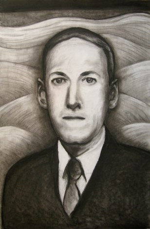 """Lovecraft charcoal, Mar. 2011, charcoal on paper, 23"""" x 35"""""""