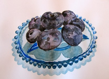 Plums on a plate, Sept. 3, 2011, watercolour on paper