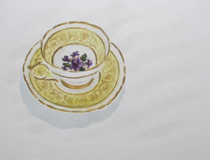 Yellow and Gold Tea-cup, Mar. 4, 2012 watercolour on paper