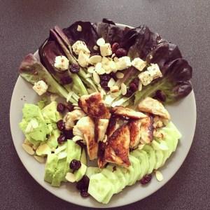 salade poulet fêta amande canneberge