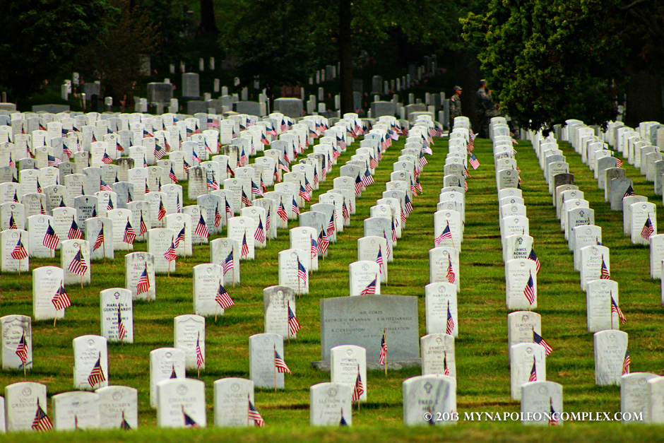 Tombs in Arlington Cemetery during Memorial Day Weekend