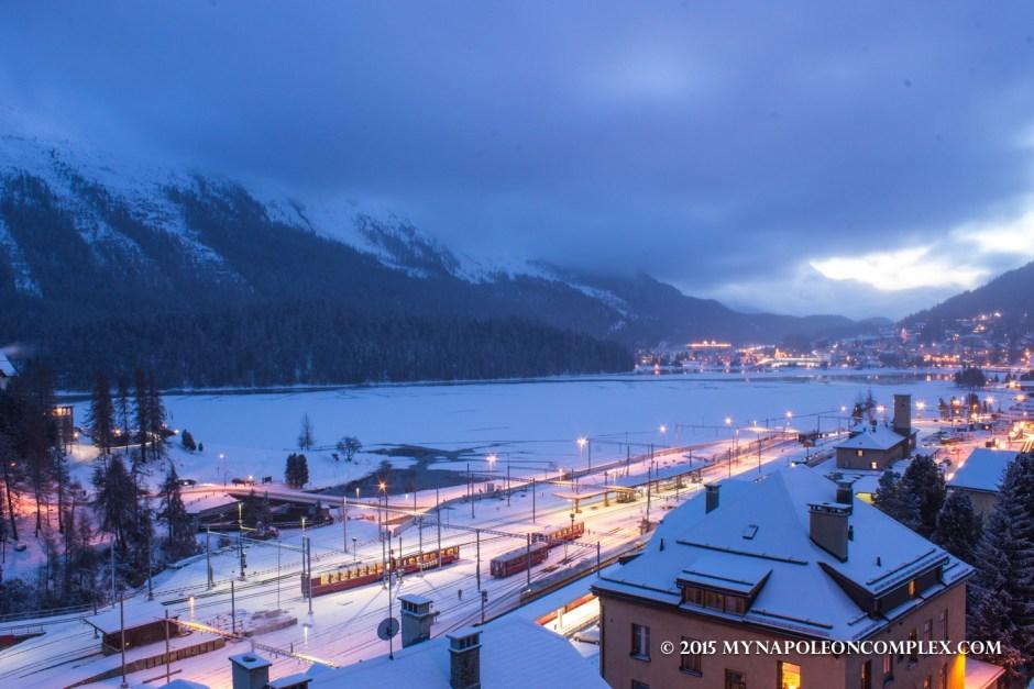 Picture of St. Moritz, Switzerland at twilight.