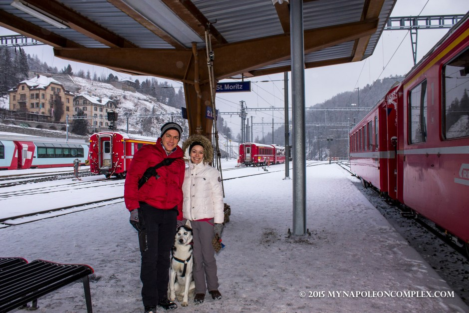 Picture of St. Moritz train station, Switzerland.