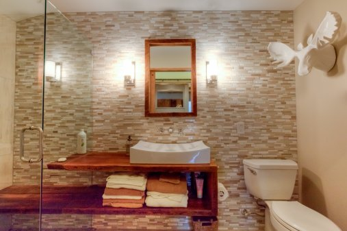 vanity into shower bench