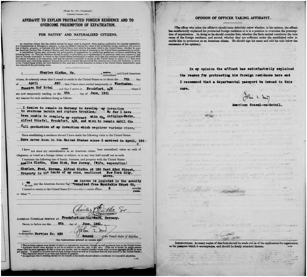 Charles Cluthe Passport Document #5