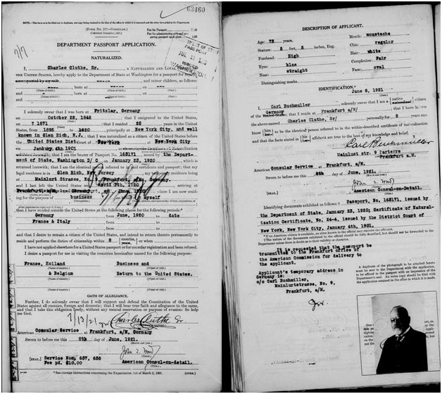 Charles Cluthe Passport Document #3