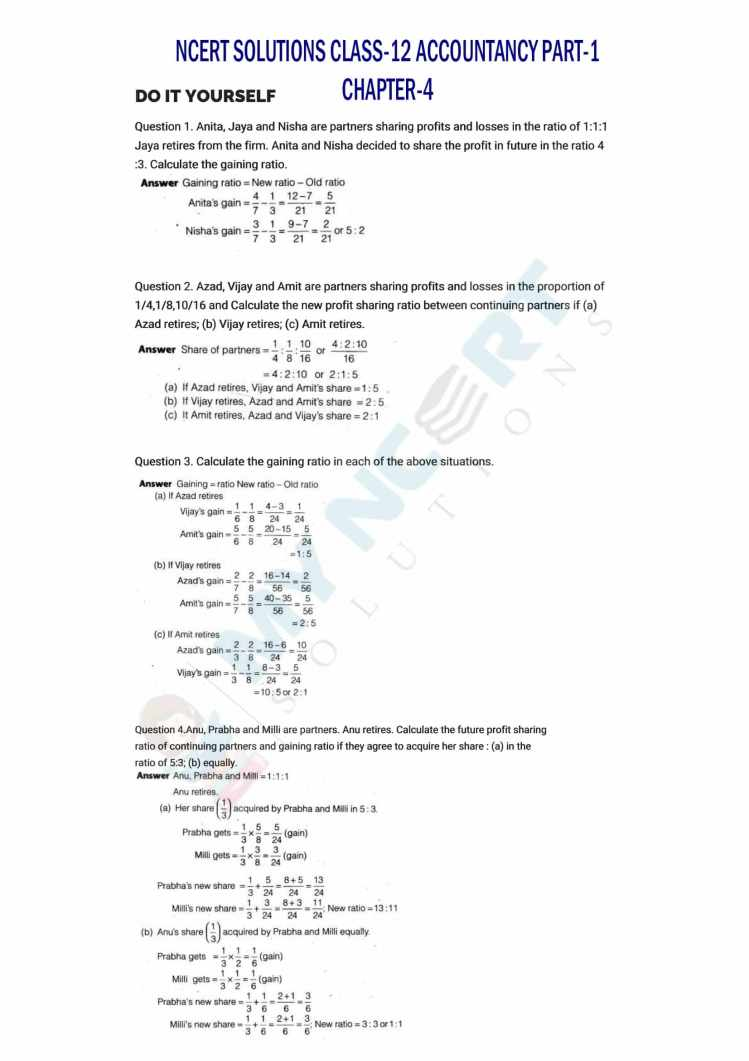 ncert solutions class 12 accountancy part 1 chapter 4 reconstitution of a partnership firm retirement death of a partner 01