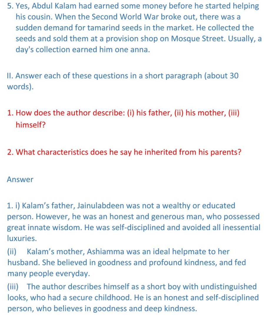 ncert solutions for class 9 english chapter 11 beehive my childhood 3