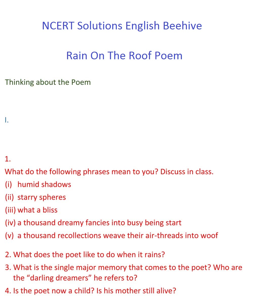NCERT Solutions For Class 9 English Beehive Chapter 6