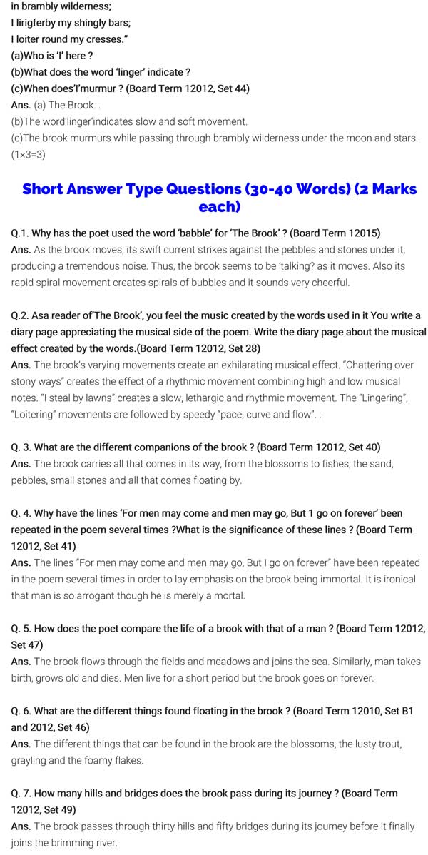ncert solutions for class 9 english chapter 6 literature reader the brook 3