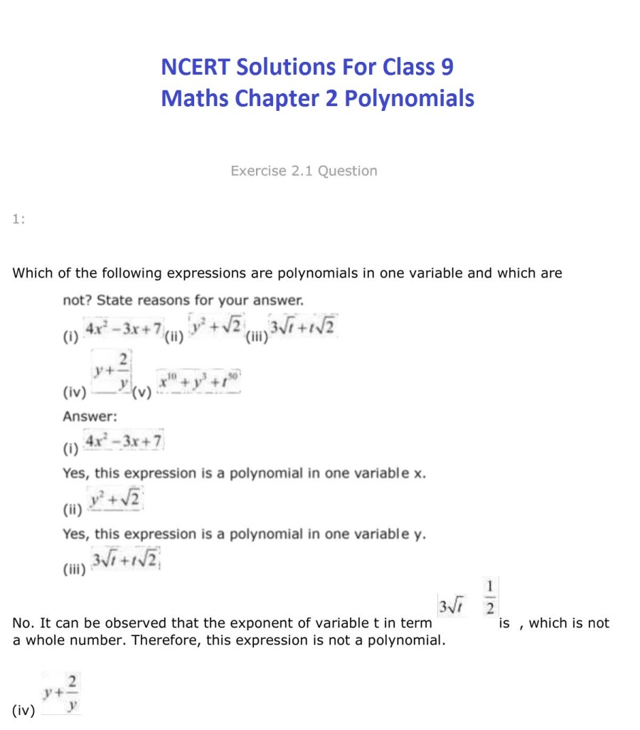 ncert solutions for class 9 maths chapter 2 polynomial 1