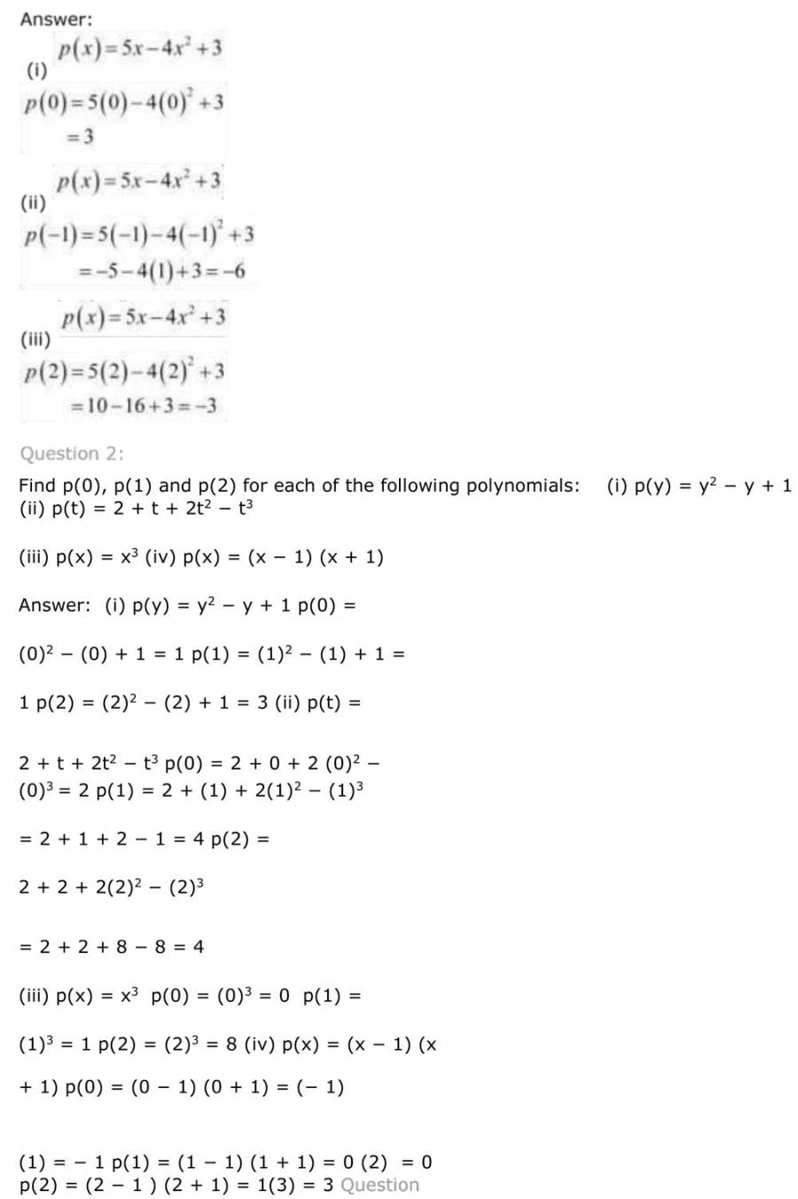 ncert solutions for class 9 maths chapter 2 polynomial 6
