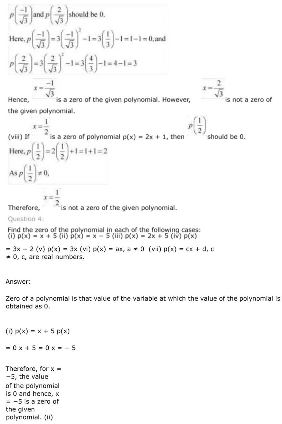 ncert solutions for class 9 maths chapter 2 polynomial 9