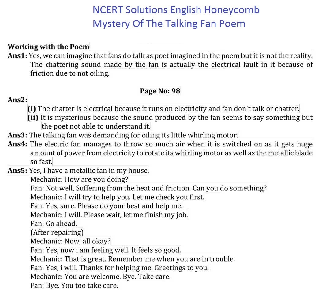 NCERT Solutions For Class 7 English Honeycomb Mystery Of The