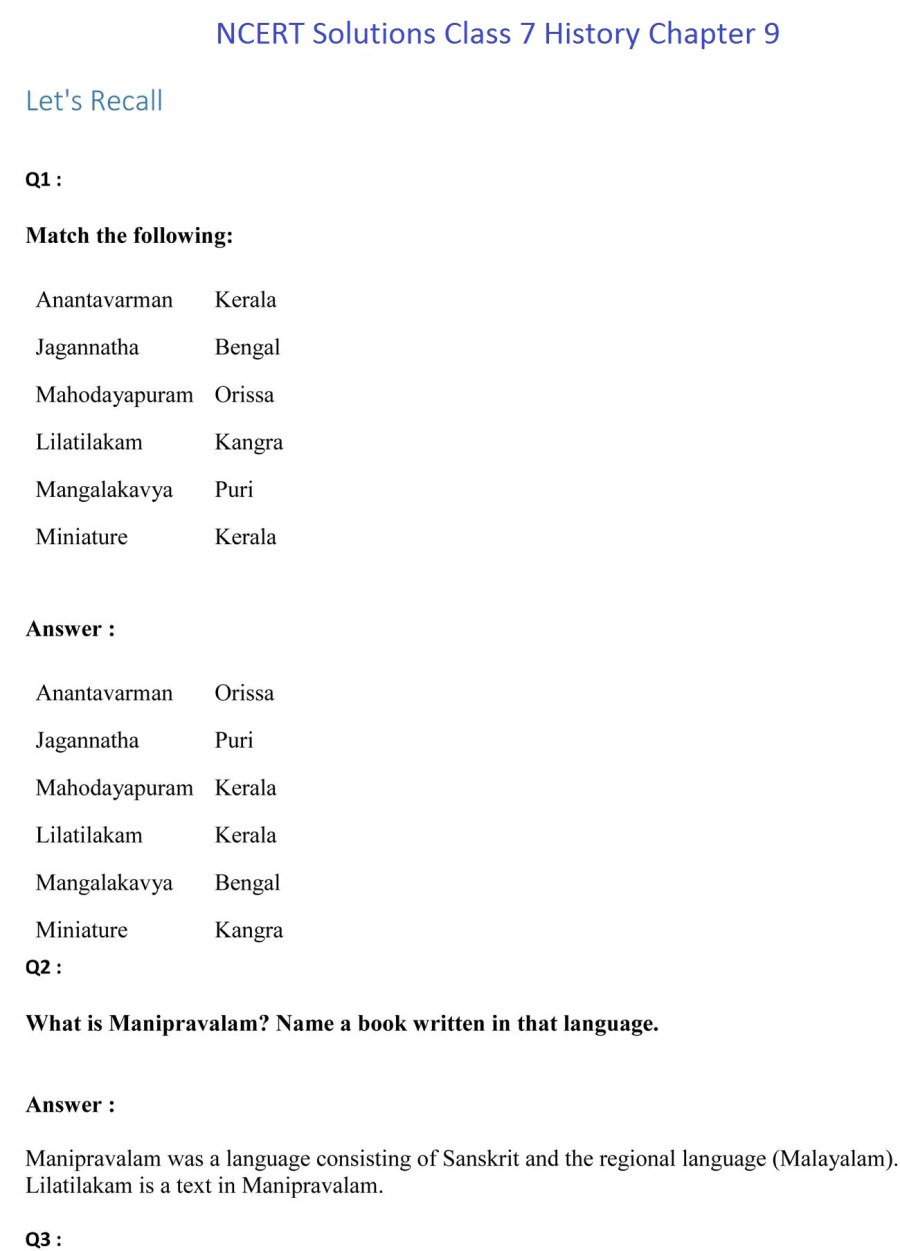 ncert solutions for class 7 history social science chapter 9 the making of regional cultures 1