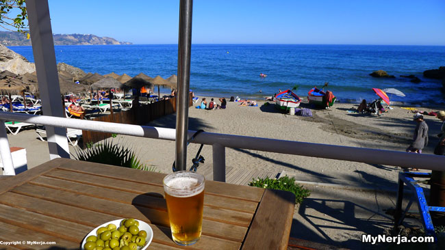 Beer And Olives At Papaos Bar Calahonda Beach Nerja