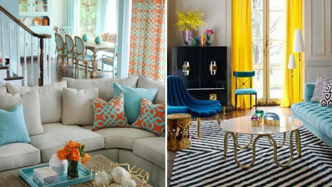 Pictures of living spaces using complementary color palettes