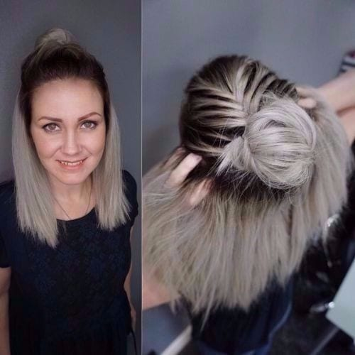 halfdo high bun ash blonde color