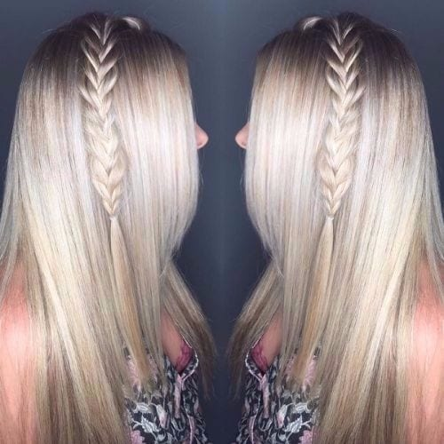 thick braid on ash blonde hair