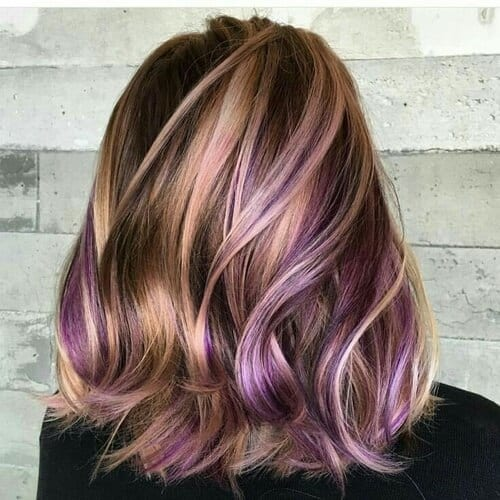 Brown Hair Color with Honey and Lavender Highlights