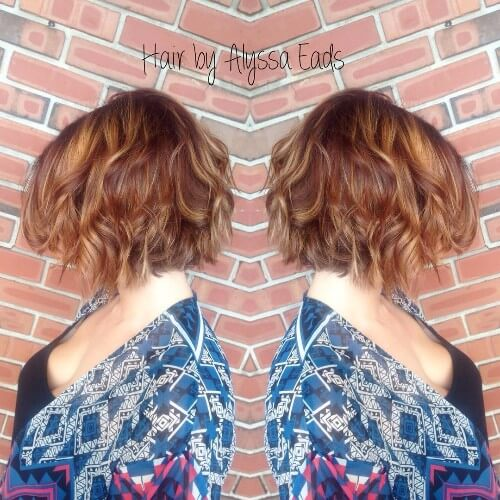 wavy bob red brown hair