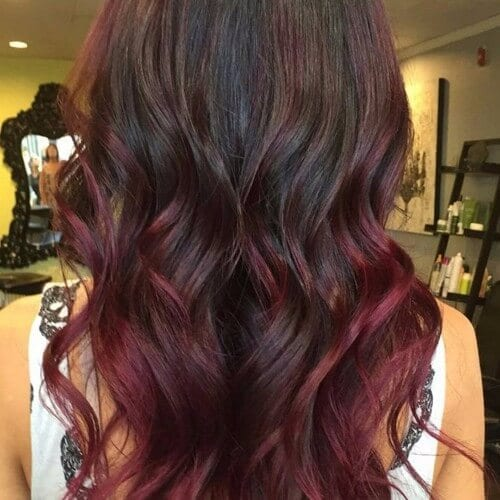 30 red brown hair ideas perfect for a remarkable style dark brown hair with burgundy red highlights long wavy hair pmusecretfo Image collections