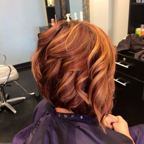 Dark Copper Short Wavy Bob