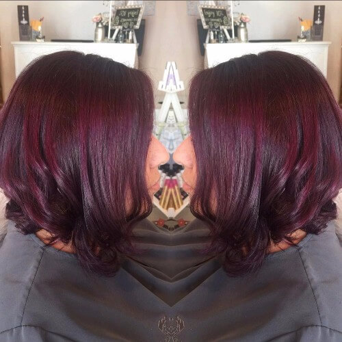 plum red brown hair bob