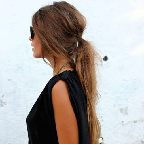 Messy Low Ponytail with Brown Locks