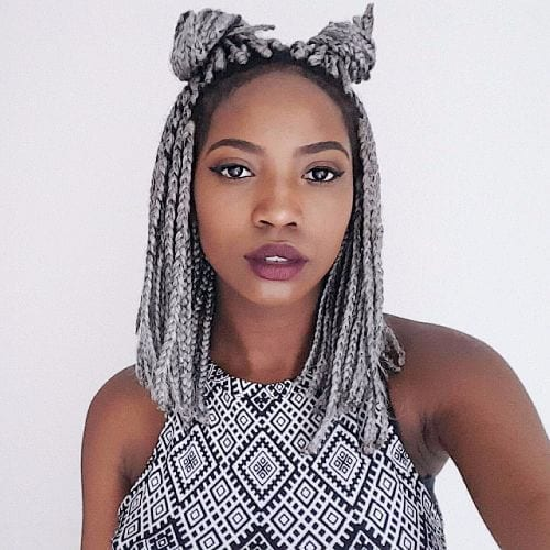 box braids double buns