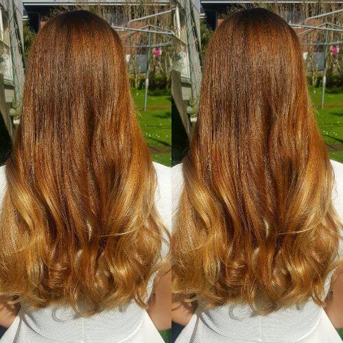 intense blonde caramel hair color