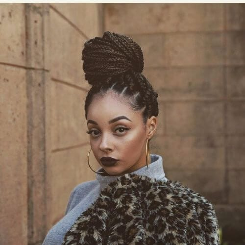box braids high bun