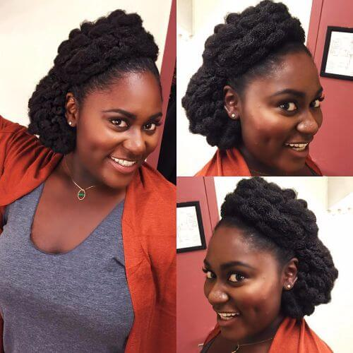 black hair braided updos