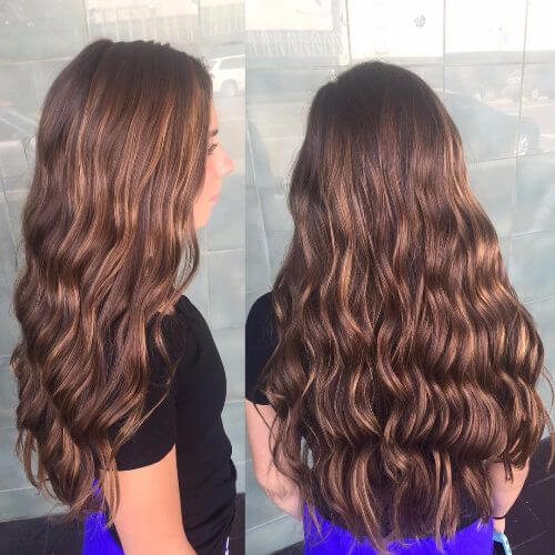 curly caramel highlights on chocolate brown hair