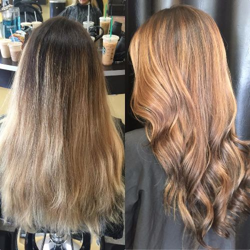 caramel balayage on long wavy hair