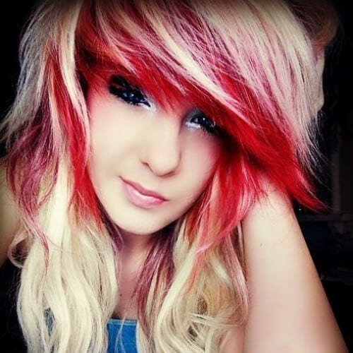 blonde red long hairstyles for girls