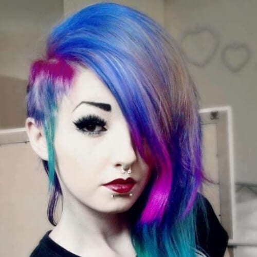colorful long emo hairstyles for girls
