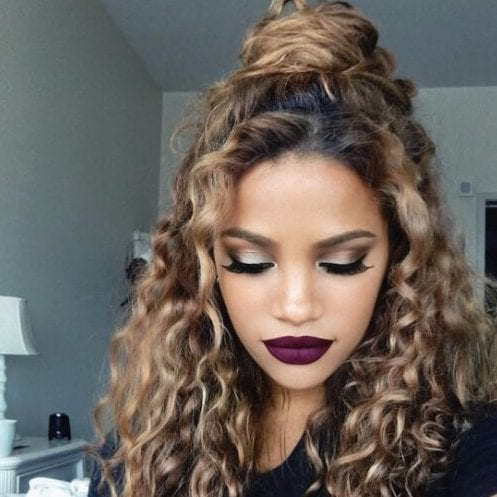 hairstyles for curly hair natural top knot