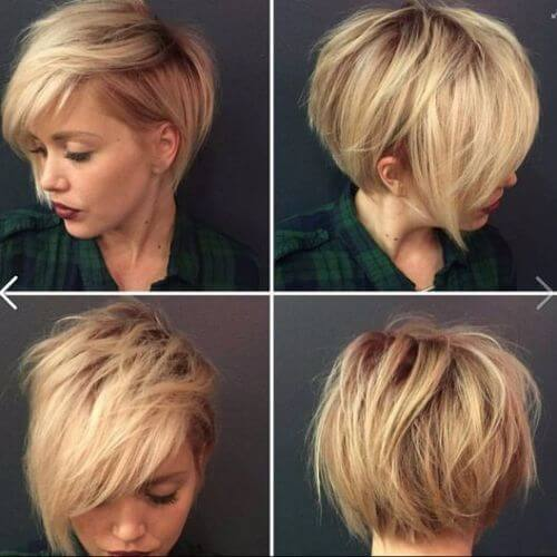 blonde woman with pixie cut