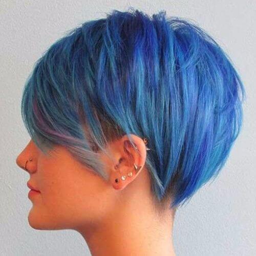 blue pixie cut
