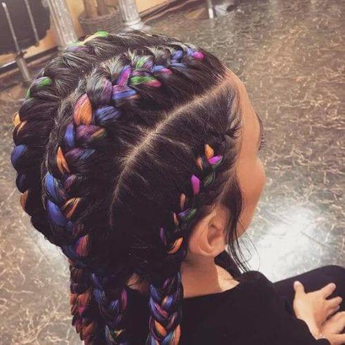 colorful goddess braids