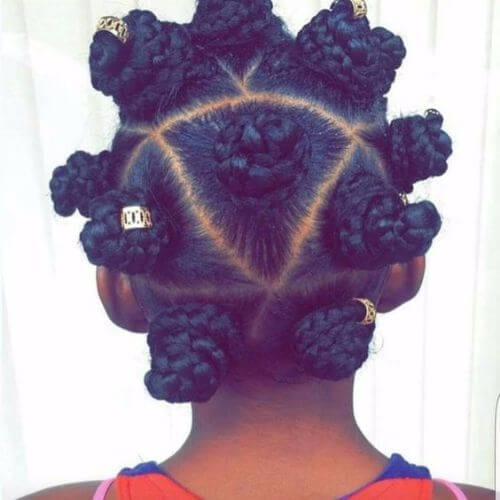 evenly-spaced bantu knots