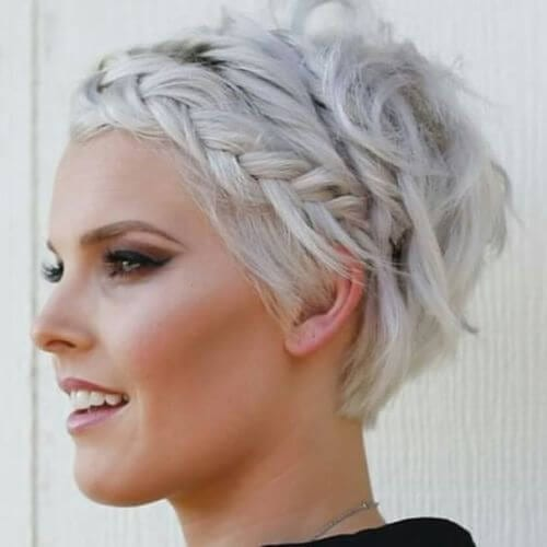 pixie cut and braid at the front