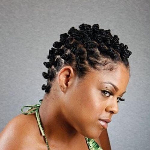 stylish bantu knots for very short hair