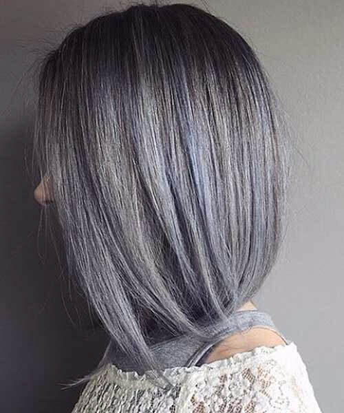bluish silver grey hair perfect bob